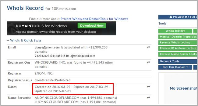 10Beasts Domain Registration Date Screenshot