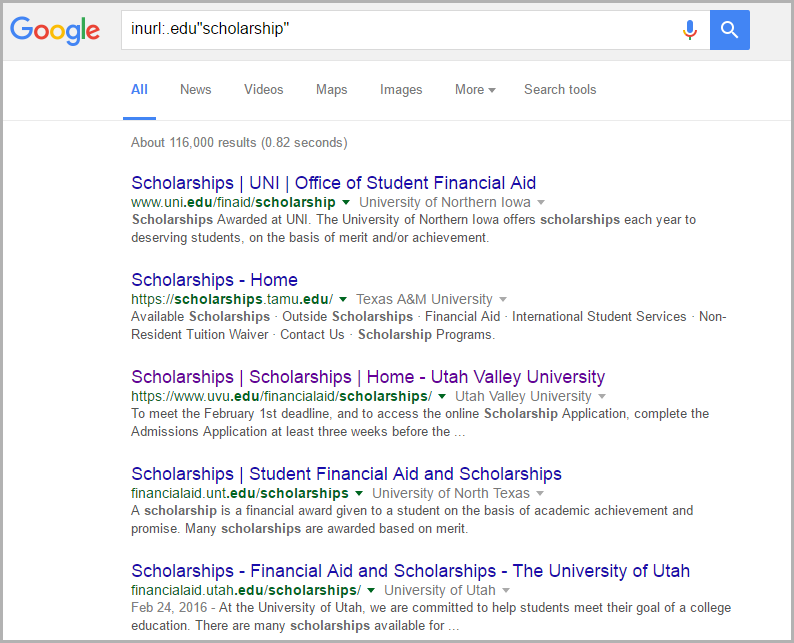 Google String to Find Scholarships