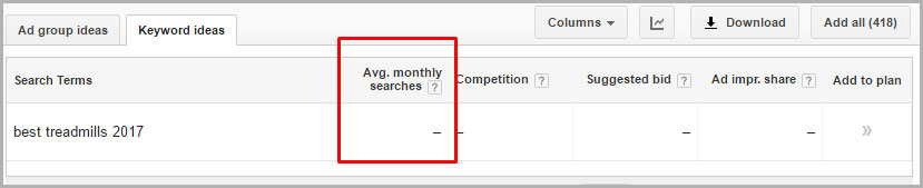 Google Keyword Planner Keyword Research Screenshot