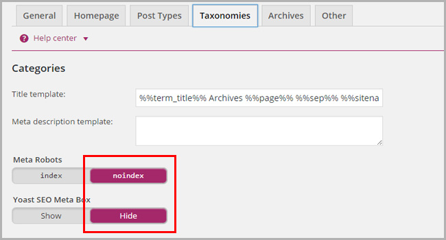 No index categories, tags and archive pages