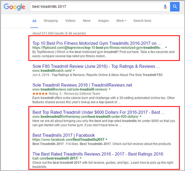 Best Treadmills 2017 keyword in google screenshot